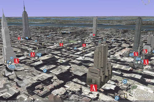 New York City in rendered in 3D from Google Earth and the AIA