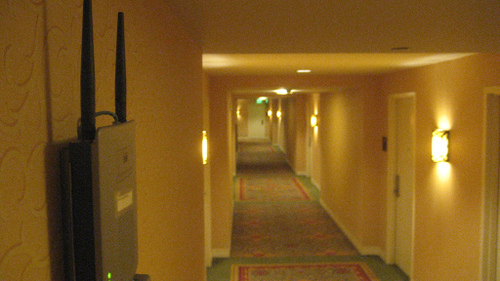 WiFi free wireless router in the hallway of a hotel