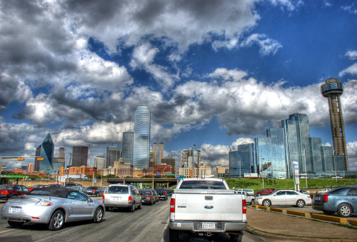 HDR of a traffic jam outside of Dallas, Texas