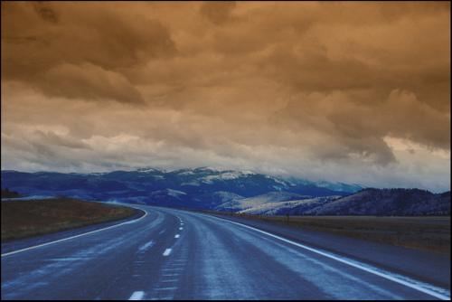 beautiful mountain highway in Montana