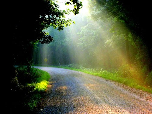 sunrays on a gravel road in the mountains