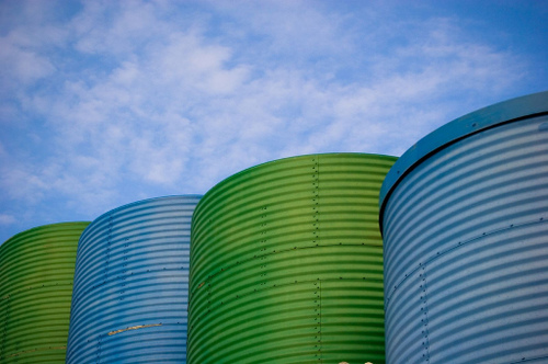 blue and green silos in warner park in madison, wi