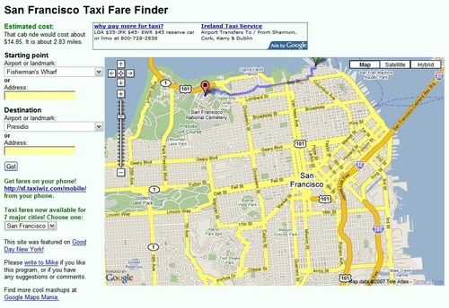 screenshot of taxi fare finder website
