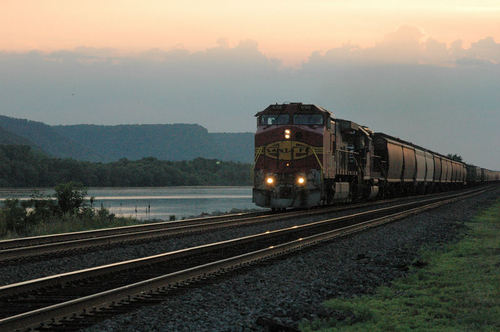 train in Trempealeau Wisconsin near the Mississippi River