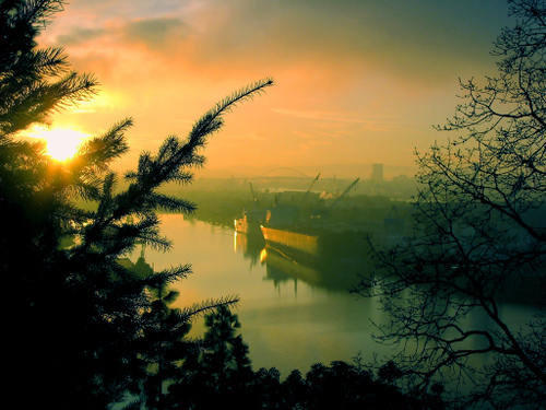 port of Portland at daybreak in Oregon