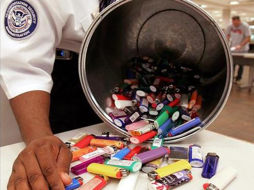 confiscated lighters from an airport security check