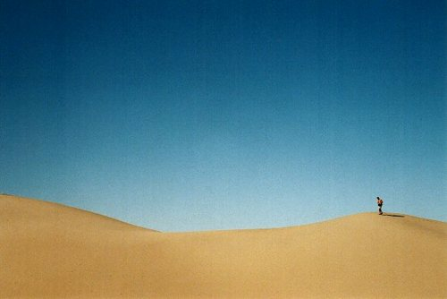 a guy on a huge sand dune