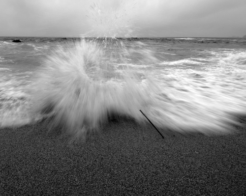 waves crashing near montara, ca - black and white