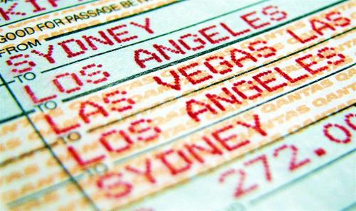 macro of an airline ticket