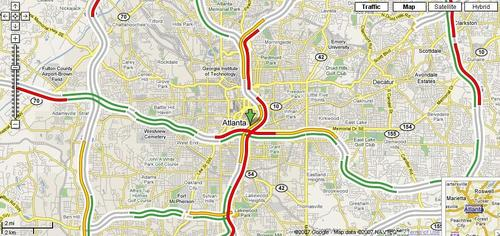 Google Traffic Map of Atlanta