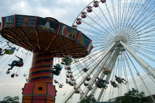 Navy Pier - Swing and Ferris Wheel by wallyg at flickr